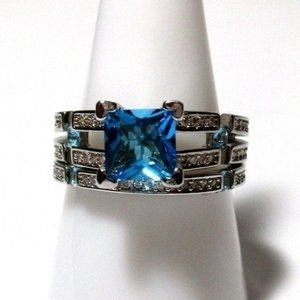 SET Ring Size 9 Simulated Diamond Topaz 413